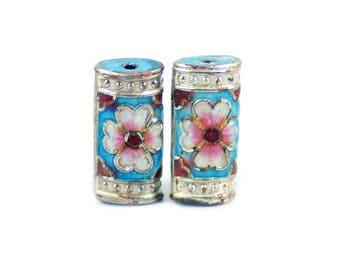 Cloisonne Rectangle Multi-Color Turquoise Blue Flower Beads 18x10mm - Package of 2 Pieces