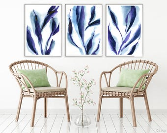 Reflections, print set of 3, watercolor indigo painting, blue abstract art, blue wall decor, leaves decoration, blue nature collectoin
