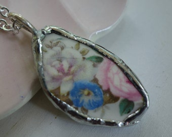 White rose and blue flower necklace- broken china jewelry- broken china pendant necklace- vintage china necklace