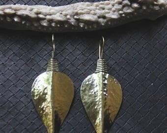 Bronze Leaf Earrings - Tribal - Boho - Gypsy - Ethnic - Hammered - Travel - Design - Organic - Boheme - Chic - Tree - Vegan - Hippie