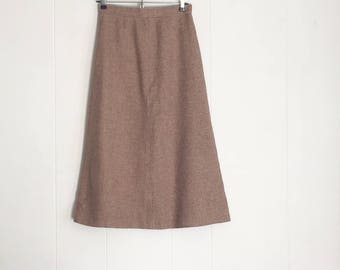 Vintage Skirt - High Waisted Skirt - Wool Skirt - Pencil Skirt - Brown Skirt - 70s Skirt - 1970s Clothing - Pinup Skirt -Midi Skirt -Mad Men