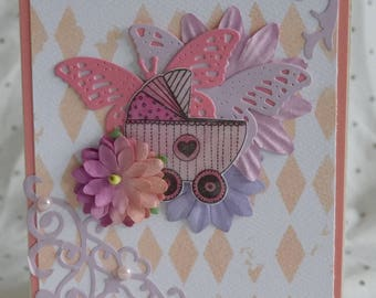Handmade card, card, handmade, baby, baby card, congratulations card, baby girl, newborn baby, expecting card, baby pink card