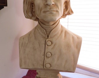 "Antique Early 20th Century Franz Liszt Florentine Art Plaster Co Company Portrait Statue Bust Sculpture # 633 Philadelphia PA 26"" Tall"