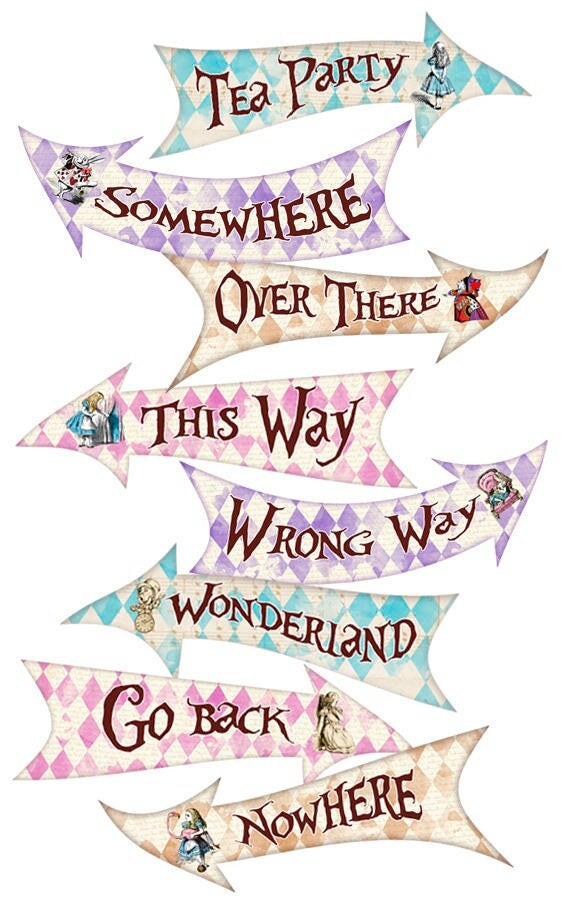 alice in wonderland party signs alice in wonderland arrows. Black Bedroom Furniture Sets. Home Design Ideas