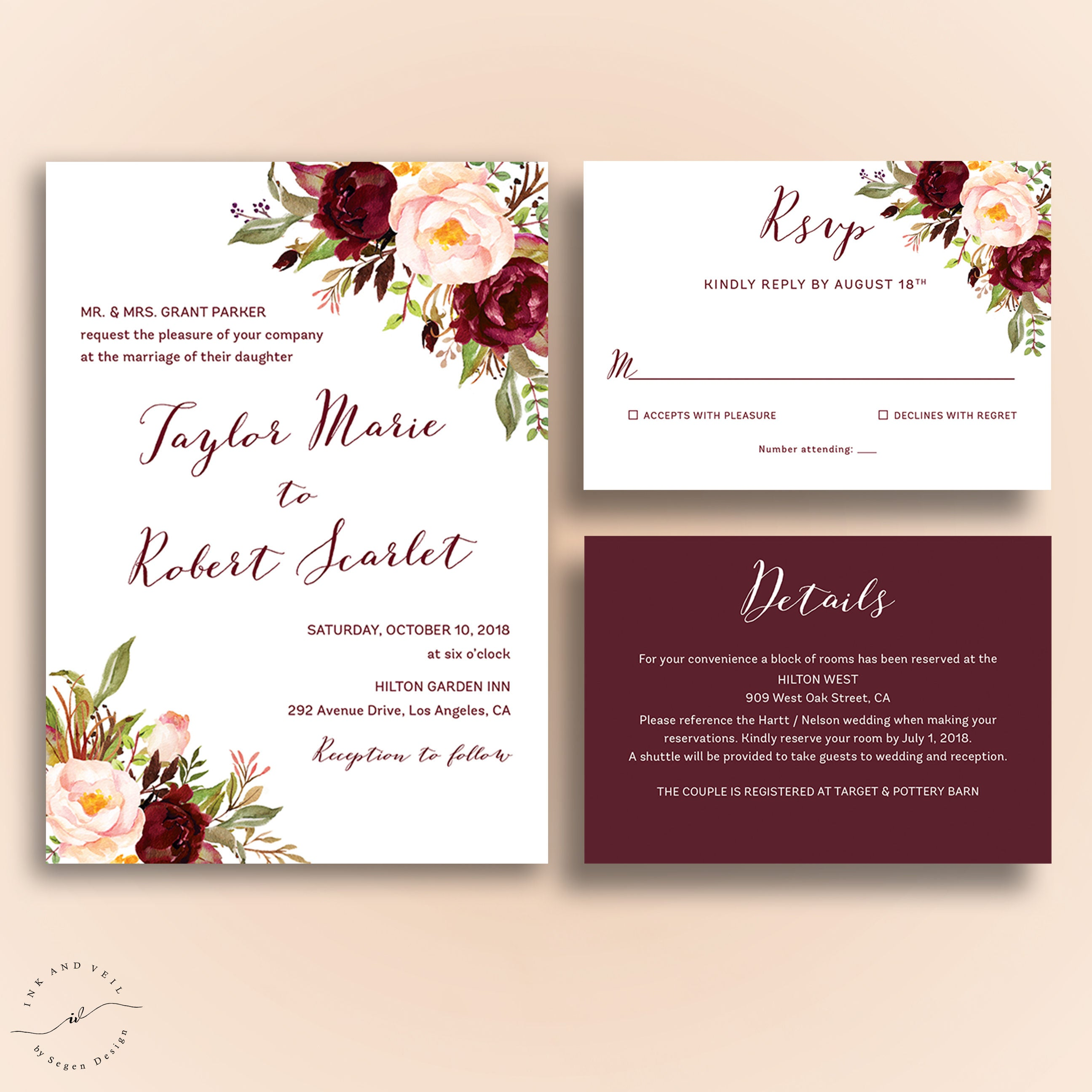 marsala wedding invitations bohemian wedding invite suite