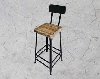 Vintage Industrial Style Barstool with Back & Reclaimed Wood Seat