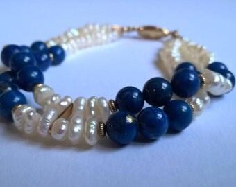Superb Vintage Royal Blue Lapis Lazuli & Freshwater Pearl Bracelet, c.1980s