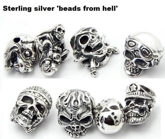Unique, Sterling 925 Silver Skull / Hell / Biker / Jason Voorhees / Helldog Beads / Onyx Bracelet