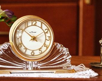Art Deco Desk Clock - Soviet Mantel Clock - Rare Clock - Mechanical Clock - Vintage Clock - Metal Clock - Table Clock - Shelf Clock