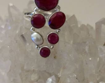 Gorgeous Ruby and Pearl Ring Size 8 1/2