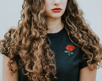 Embroidered Rose T-Shirt - Black