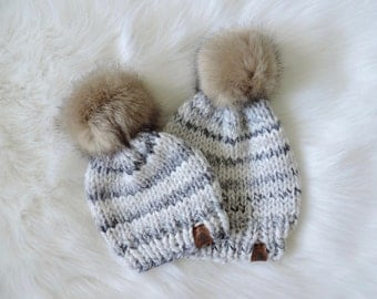 PICK YOUR COLOR - Solid Knit Hat with Grey Faux Fur Pom,  Knitting Hat, Knit Toque with Grey Faux Fur Pom