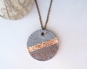 Necklace concrete - copper - structure & glass crystals - gift -.