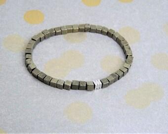 Bracelet-pyrite Cube-stretch-minimalist bracelet-gift-