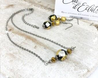 Parure avec véritables perles de Murano Or, Noir, et Argent