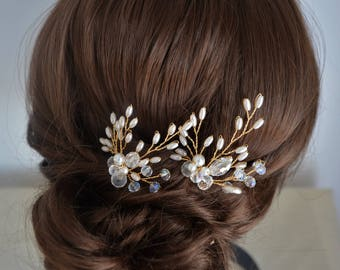 Bridal hair pins, pair of gold or silver pearl and crystal hair pins, bridesmaid hairpiece