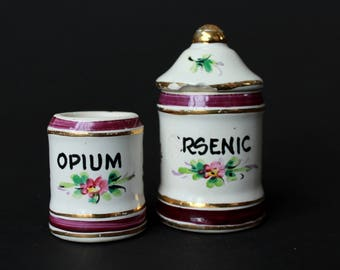 Vintage Opium Jar and Arsenic Poison Jar - Porcelain French Apothecary Jar - Vintage Pharmacy Curiosities Oddities