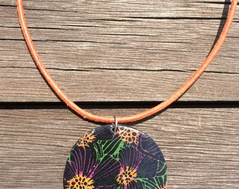 Polymer black necklace, silkscreen necklace, tropical necklace, flower necklace, pendant necklace, handmade necklace, gift for women