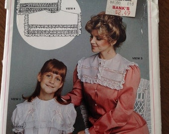 French Hand Sewing Pattern, square collars, adult sizes 6 - 16, child sizes 2 - 12, Margaret Pierce designs