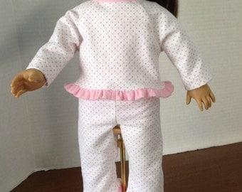 Flannel pajamas, pajamas for 18 inch dolls, two piece pjamas, polka dot pajamas, pajamas with ruffles, comfy pajamas, long sleeve pajamas