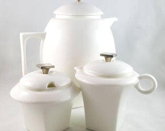 White and Chrome Modernist Tea Pot with Cream and covered Sugar Set