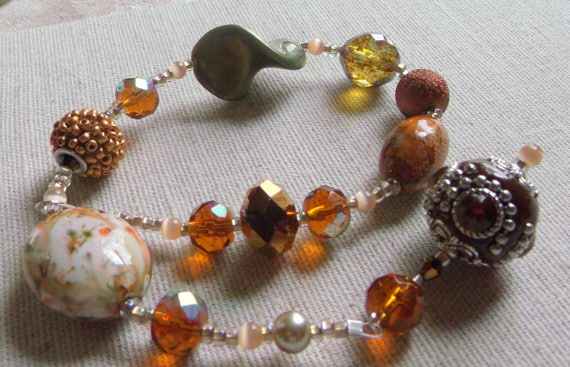 """13 """" Chunky  fall pillar candle ring -  wrap crystal beads - hostess -house warming- tin candle ring -  decoration - home  Lizporiginals"""