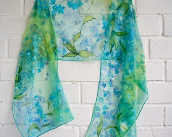 Forget me not silk scarf Blue Mint Green palette scarf Hand painted Chiffon silk scarf Spring colors shawl Floral wrap Mother's Day