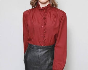 Vintage 1970's Berry Red Ruffled Blouse