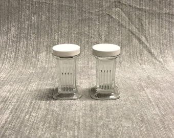 Pair of Small Vintage Glass Containers, Storage, Salt and Pepper, Tableware, Retro Collectibles, Art Deco Containers, Home Accents, Glass