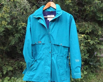 Far West Gore Tex Jacket, 90s Windbreaker Teal Turquoise Blue, Size Small Womens fits Medium, Warm Jacket Waterproof, 80s Ski Vintage Shell