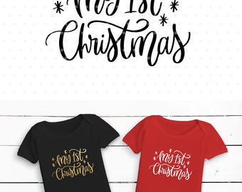 My 1st Christmas Svg, Hand lettered svg, My first Christmas Svg, Christmas SVG file, Svg Commercial use, Winter svg, Silhouette & Cameo