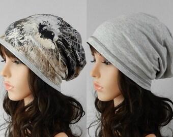 Slouchy jersey beanie women men Reversible beanie Hat for women Chemo hat Viscose beanie cap Womens beanie Spring headcover stretch S-L