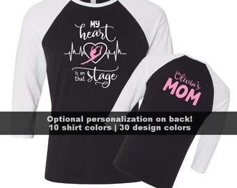 Dance Mom Shirt, My heart is on that stage, Personalized Dance Mom Shirt, Custom Dance Mom Glitter Shirts, Dance Grandma, Dance Team Shirts