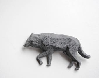 Wolf Reflective 3D printed Polygonal Brooche
