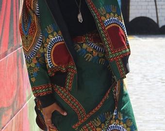 African Wrap Skirt Midi - Dashiki Wrap - African Clothing - Wax Print Skirt - Colourful Wrap Skirt - Festival Skirt - Dashiki Skirt