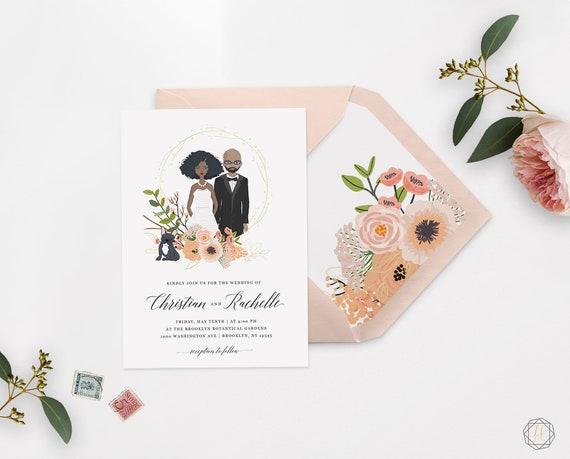 Illustrated Wedding Invitation Custom Wedding Invitation