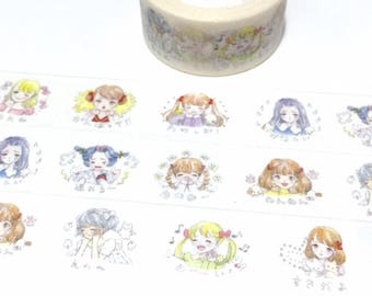 cartoon comic girl washi tape 5M x 2cm girl dairy life happy girl happy mood masking sticker Japanese cg girl girl diary planner sticker