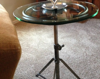 "INDUSTRIAL TABLE : Antique Industrial Cast Iron Hand Wheel with Vintage Steel Tripod Base. New 3/8"" Bevel Glass Edge"