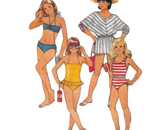 Butterick 6582, sewing pattern, size 8 girl's swimsuit pattern, bikini pattern, cover up pattern