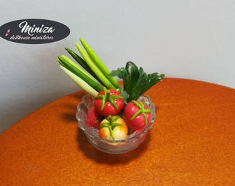 Miniature Bowl With Vegetables, 1:12 scale