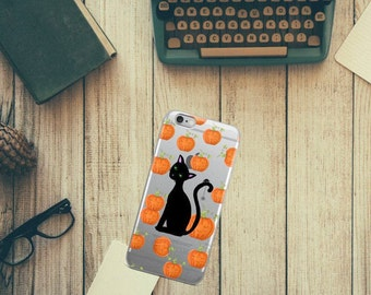 Halloween phone case, Halloween iPhone case, pumpkin phone case, iphone cases, iPhone 8, 7 plus, iPhone 6s, iPhone 7, Halloween cat,