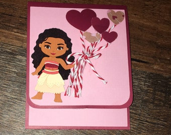 Moana Valentine treat card, kids valentine treat, valentine school treats, gift card holder, chocolate holder, hand made valentine card