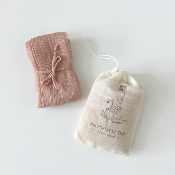"DUSTY ROSE Plant Dyed Crinkle Silk Ribbon - natural hand dyed for bridal bouquet, invitations, styling - (2.5"" x 2.5 yards)"