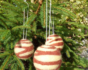Felted Christmas tree baubles set of 3