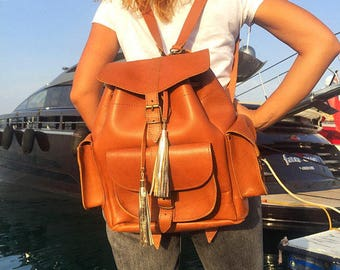 Brown Leather Backpack, Women's Leather Backpack, School Bag, Made in Greece from Full Grain Leather, LARGE.