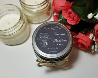 12 - 4 oz Personalized Wedding Candle Favors - Guest Gifts - Chalkboard Rustic Theme - Bridal Shower Candle Favors  - Shower Prize
