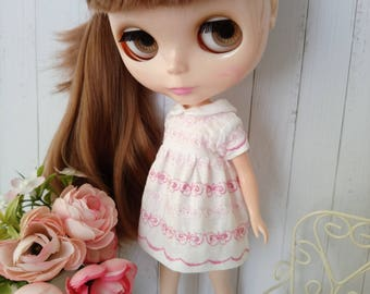 Blythe cotton dress hand made clothes outfit miniature doll clothing 1/6 scale vinage style