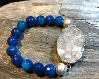 Blue Agate & Druzy Gemstone Bracelet