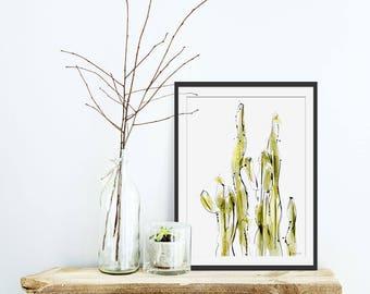 Cactus Print. Cactus Art. Cactus Gift. Cactus Painting. Cacti Wall Art. Green Lili