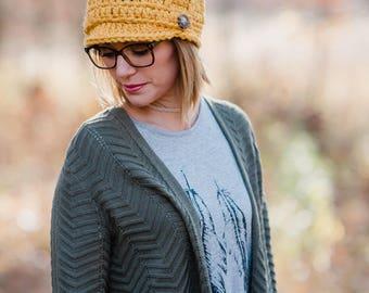 Women's Hat / Newsboy Hat / Crocheted Hat / Winter Hat / Mustard Hat